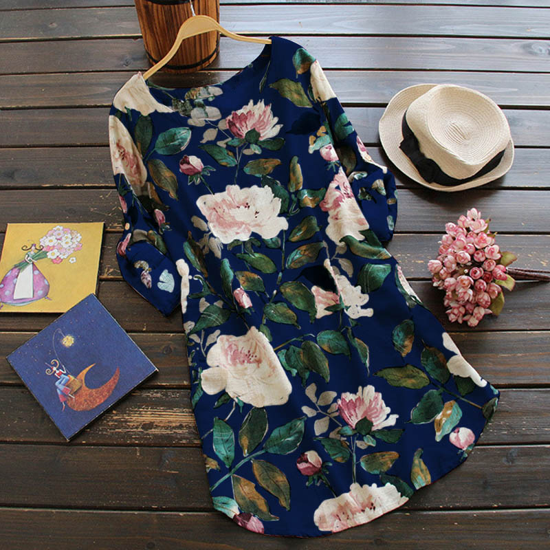 ZANZEA-10-24-Women-Long-Sleeve-Tunic-Top-Blouse-Shirt-Sundress-Boho-Floral-Dress