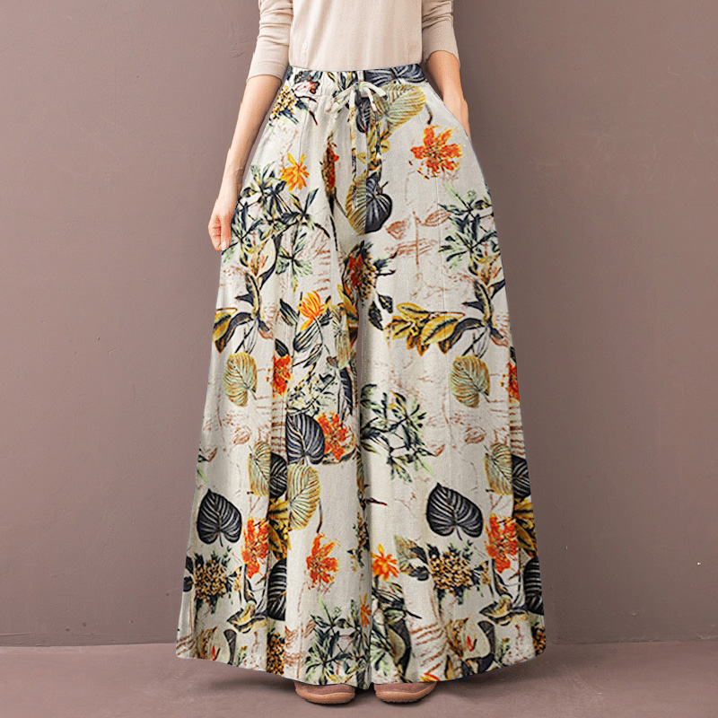 thumbnail 14 - 2021 UK Women Casual Loose Flare Wide Leg Pants Floral Culottes Palazzo Trousers