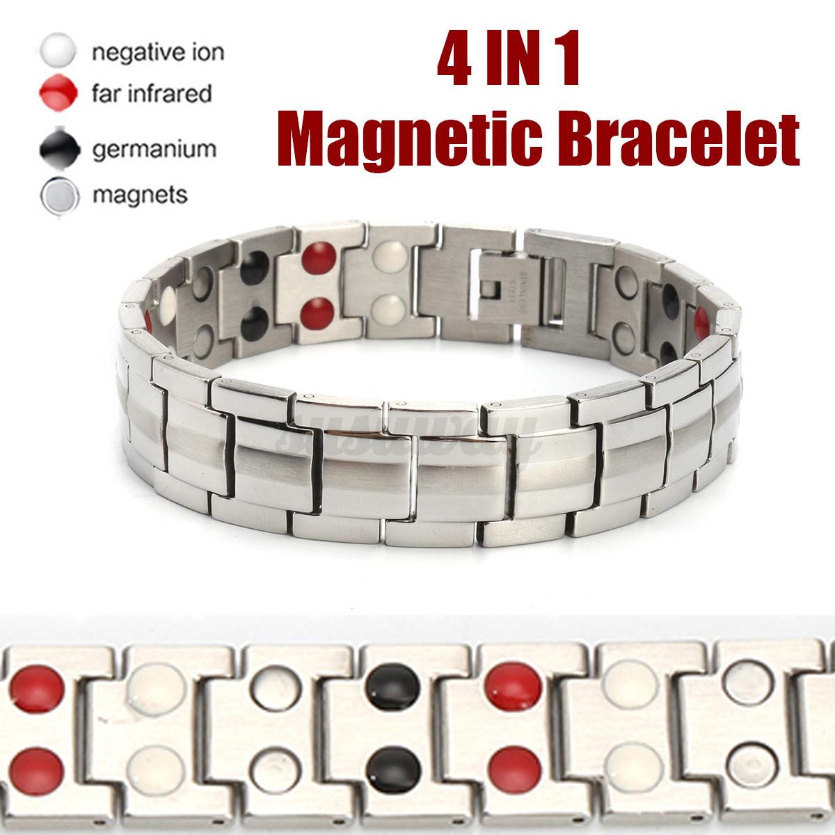 Thérapeutiques de Guérison énergétique Bracelet en acier inoxydable Thérapie Magnétique Bracelet US