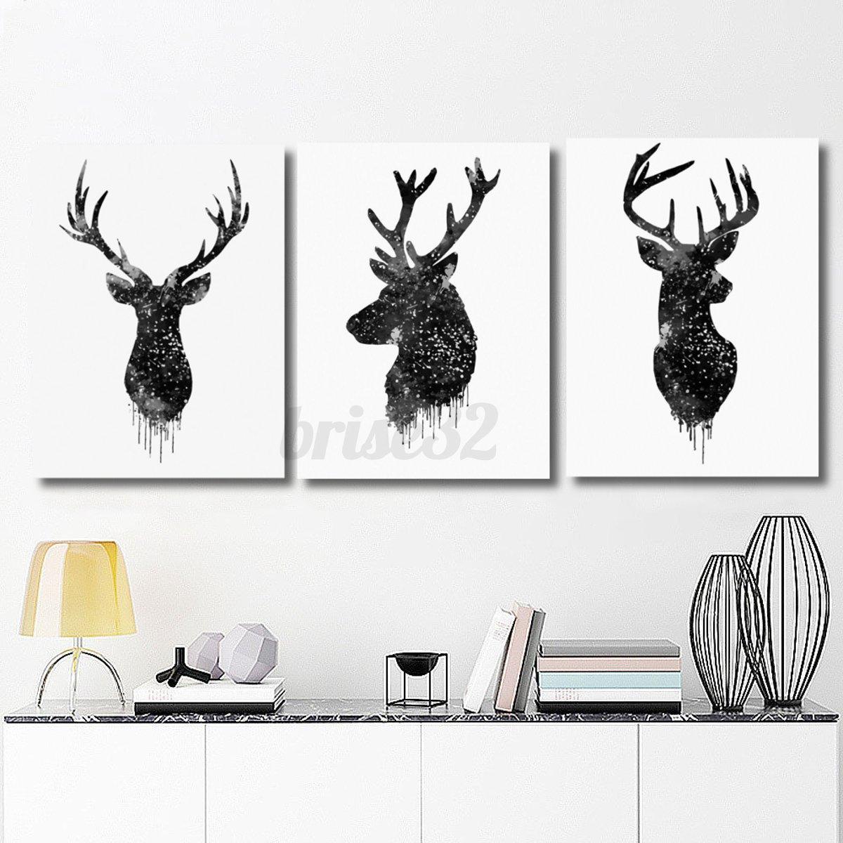 Deer-Head-Animal-Minimalist-Canvas-Print-Poster-Watercolor-Painting-Modern-Decor