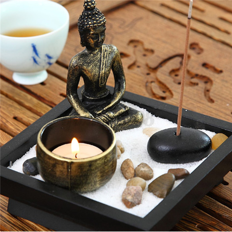 deko set zen garten buddha sand felsen r ucherst bchen rake feng shui dekoration ebay. Black Bedroom Furniture Sets. Home Design Ideas