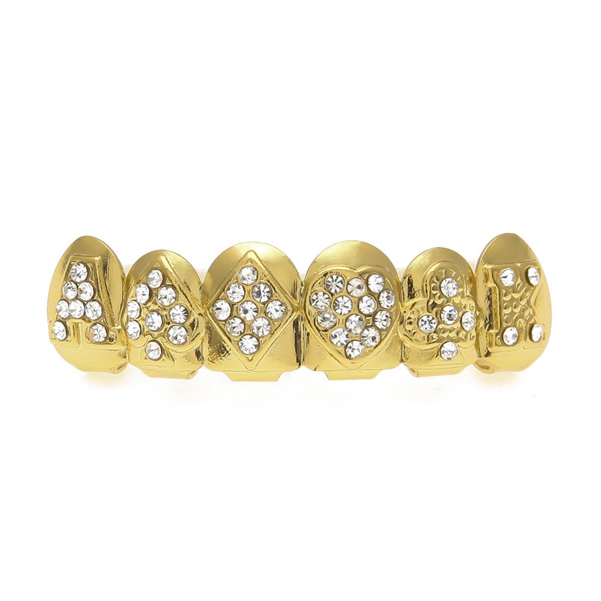 Gold-Plated-Tooth-Grill-Set-Hip-Hop-Diamond-Teeth-Custom-Mouth-Cap-Top-Bottom thumbnail 8