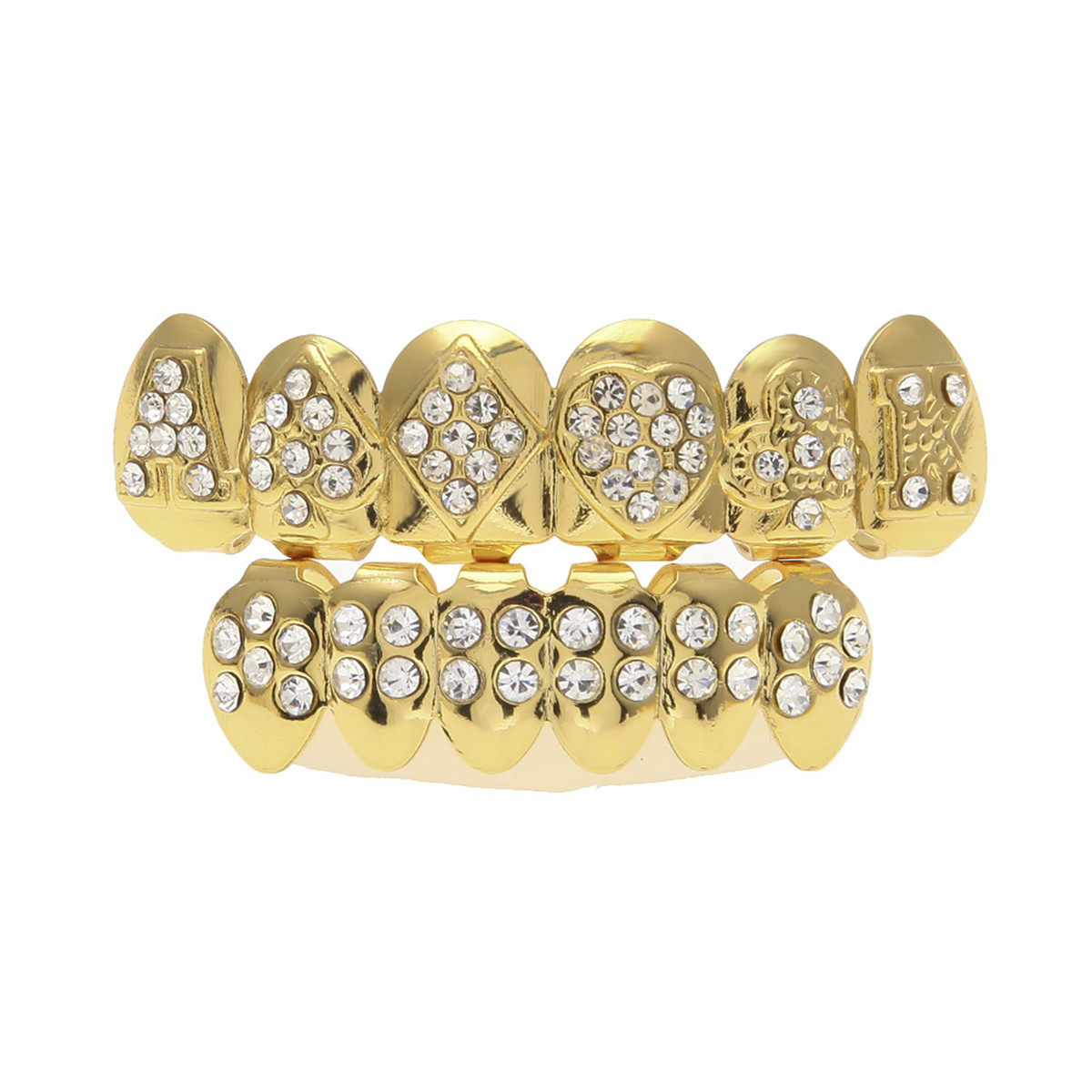 Gold-Plated-Tooth-Grill-Set-Hip-Hop-Diamond-Teeth-Custom-Mouth-Cap-Top-Bottom thumbnail 7