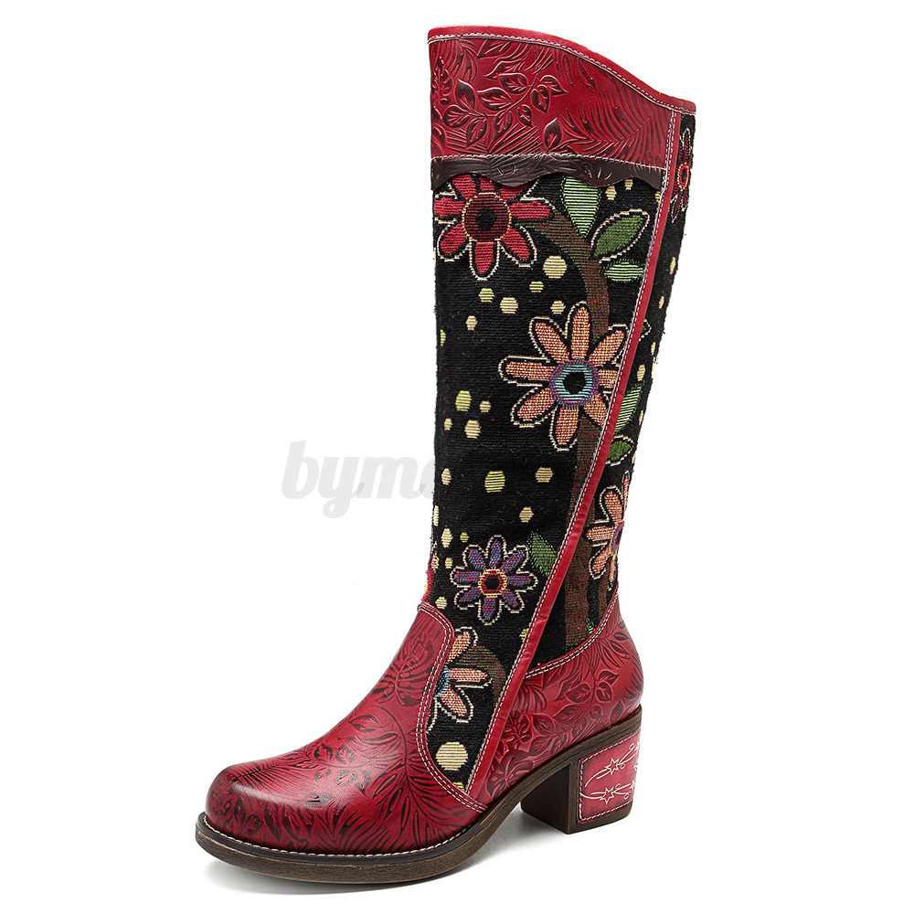 SOCOFY Damens Genuine Leder Knee High Block Heel Stiefel Embroidery Embroidery Embroidery ... 367898