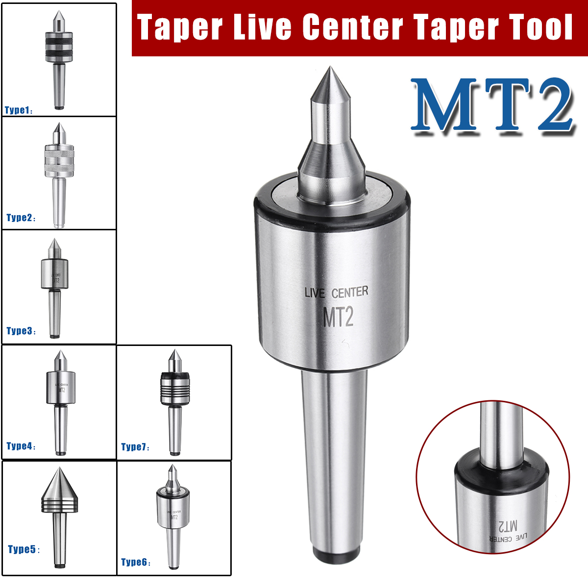 MT2 Live Center Set Morse 45 Steel High Precision Woodworking For Wood Lathes Q