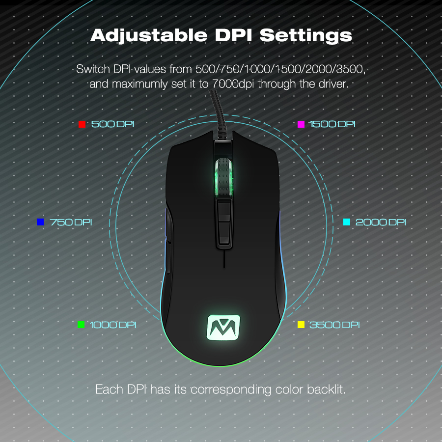 MantisTek GM2 3500DPI Gaming Mouse USB Wired RGB Optical Adjustable Mice Black