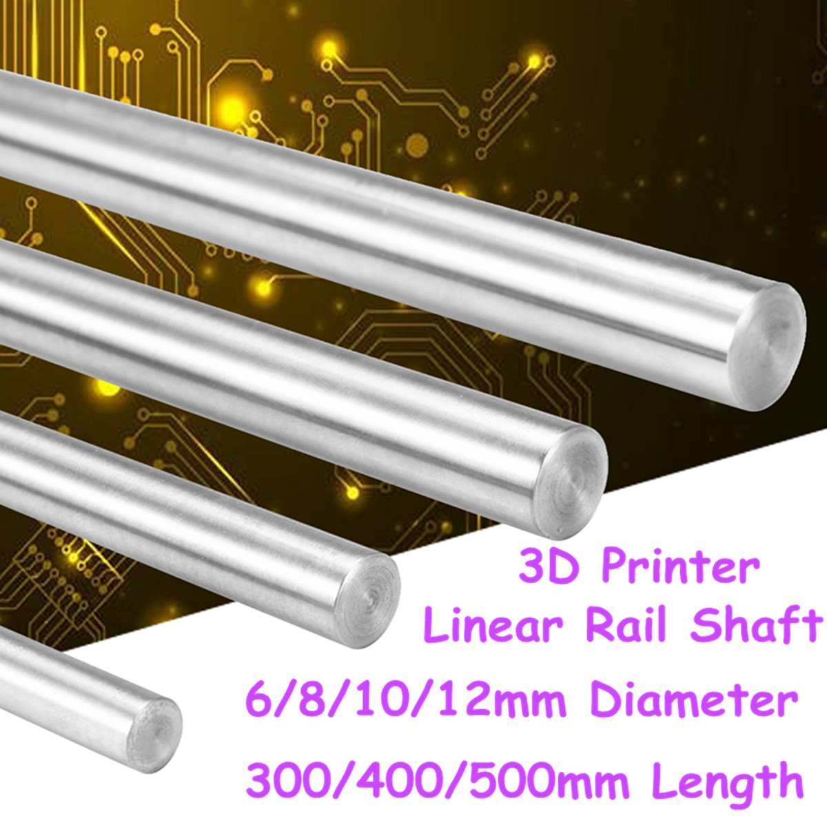 8mm CNC 3D Printer Axis Chromed Smooth Rod Steel Linear Rail Shaft 300//400//500mm