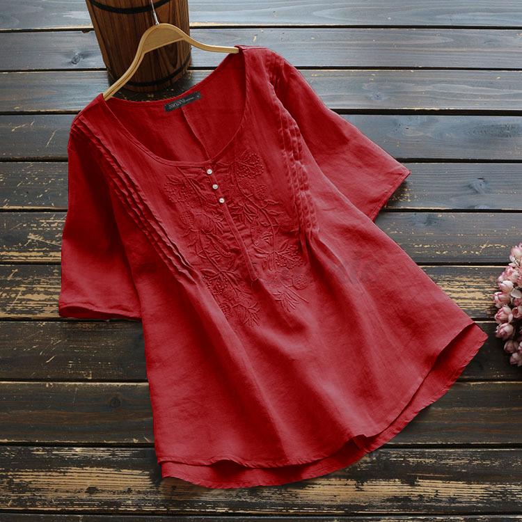 Mode-Femme-T-shirt-Coton-Manche-Courte-Broderie-Col-Rond-Loisir-Haut-Tops-Plus miniature 9