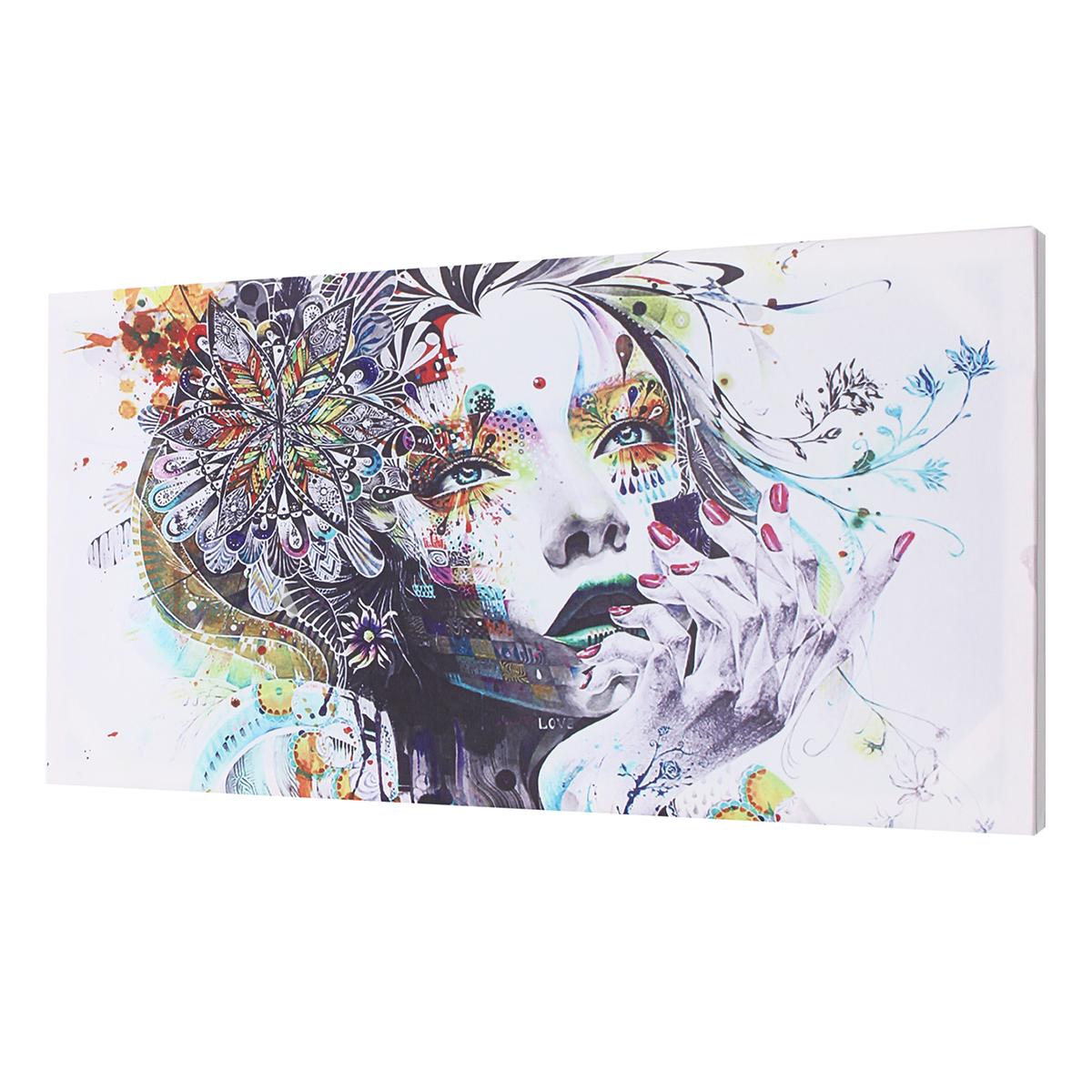 16-24-039-039-Abstract-Girl-Flower-Canvas-Print-Painting-Wall-Pictures-Framed-Unframed