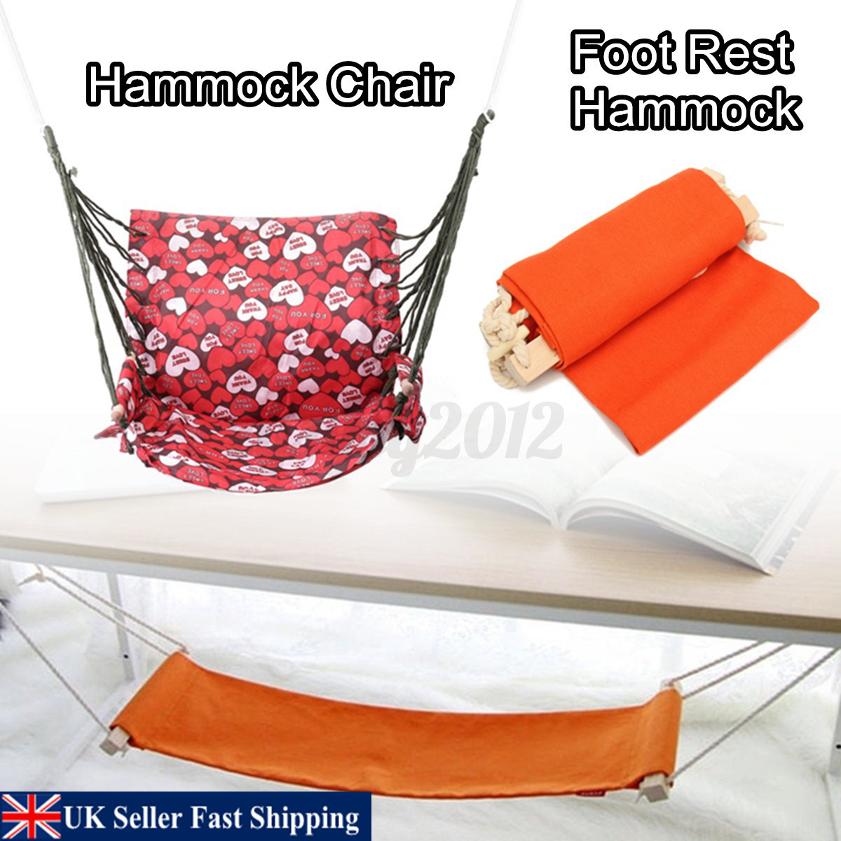 Portable Hanging Rope Swing Seat Chair Hammock Office Foot Rest Desk