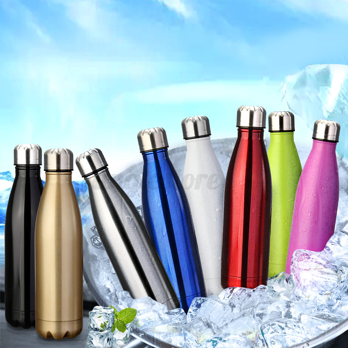 500ML-Stainless-Steel-Double-Wall-Vacuum-Insulated-Bottle-Water-Flask-Sport miniature 2