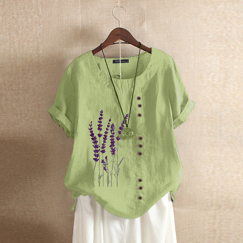Women-Summer-Short-Sleeve-Casual-Tee-Shirt-Top-Floral-Embroidered-Blouse-T-Shirt thumbnail 16
