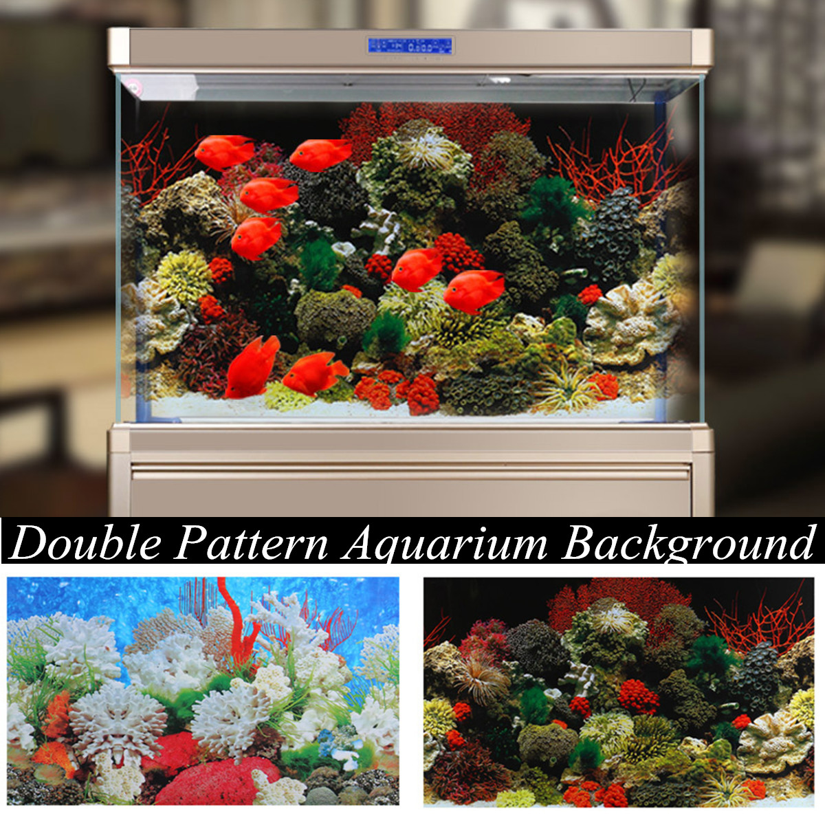 Details about Double Sided Aquarium Background Poster Fish Tank Coral Picture Decoration