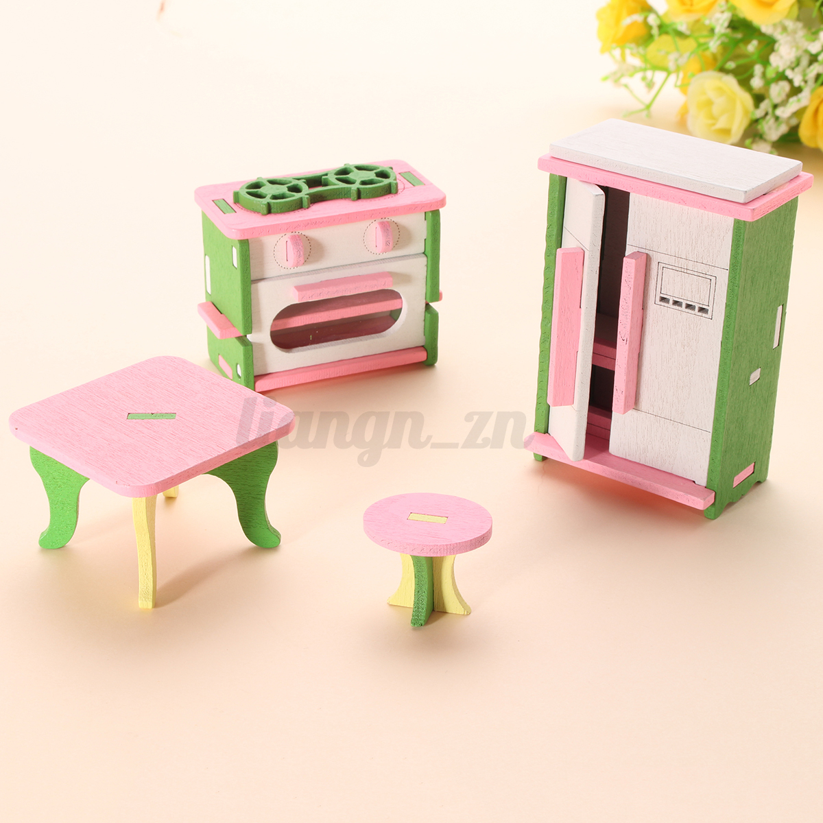 11 set maison poup e meuble chambre lit barbie en bois accessoire diy dollhouse ebay. Black Bedroom Furniture Sets. Home Design Ideas