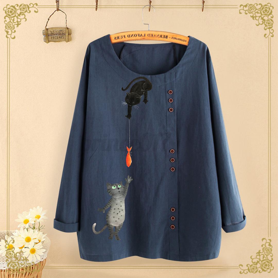 Mode-Femme-Haut-Shirt-Tops-Mignon-Manche-Longue-Col-Rond-Imprime-Coton-Plus miniature 5