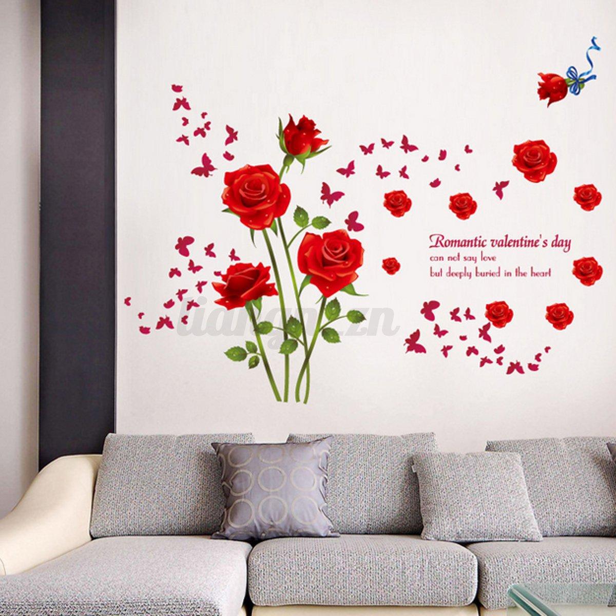 3d adh sif sticker autocollant fleur rose romantique en
