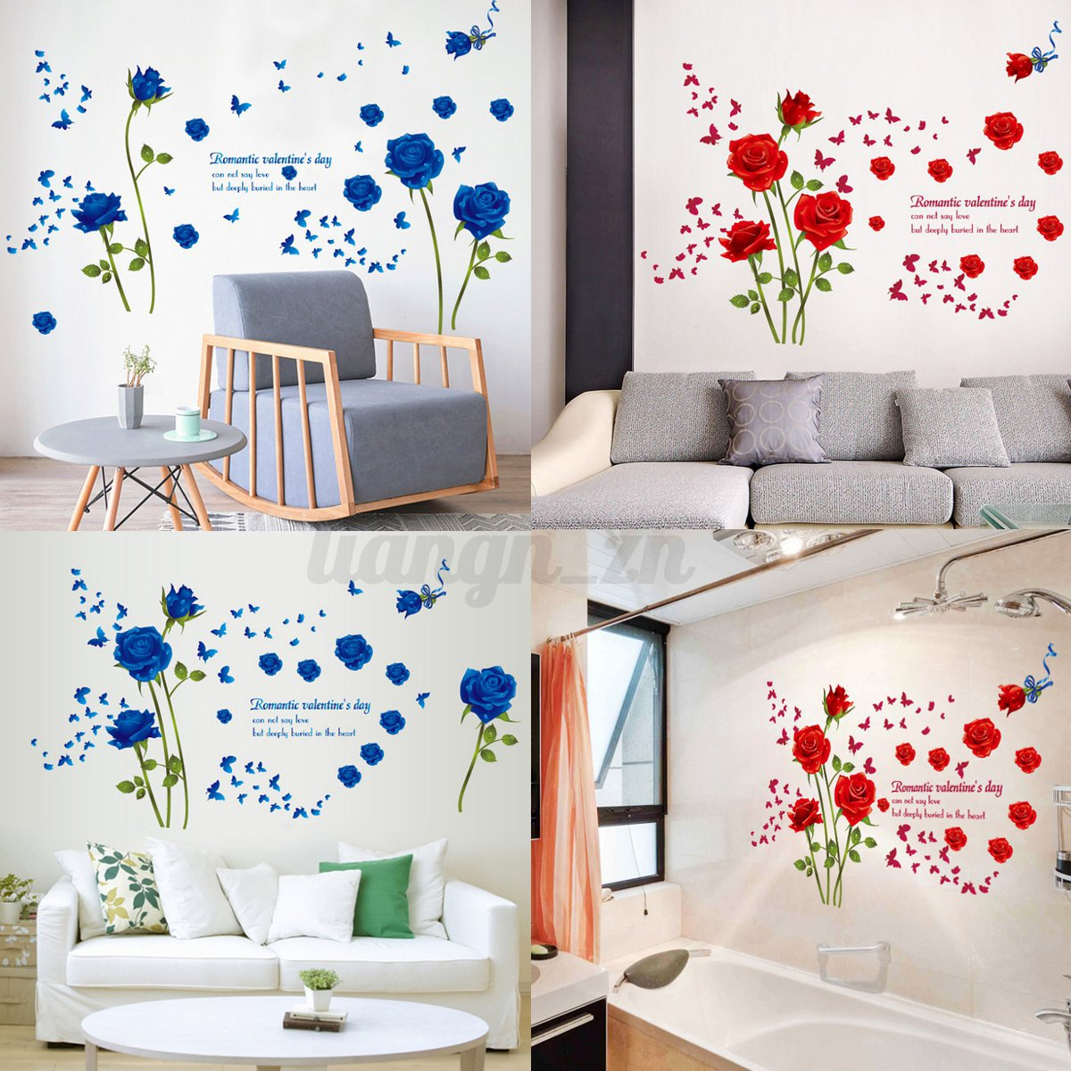 3d adh sif sticker autocollant fleur rose romantique en for Decor mural adhesif
