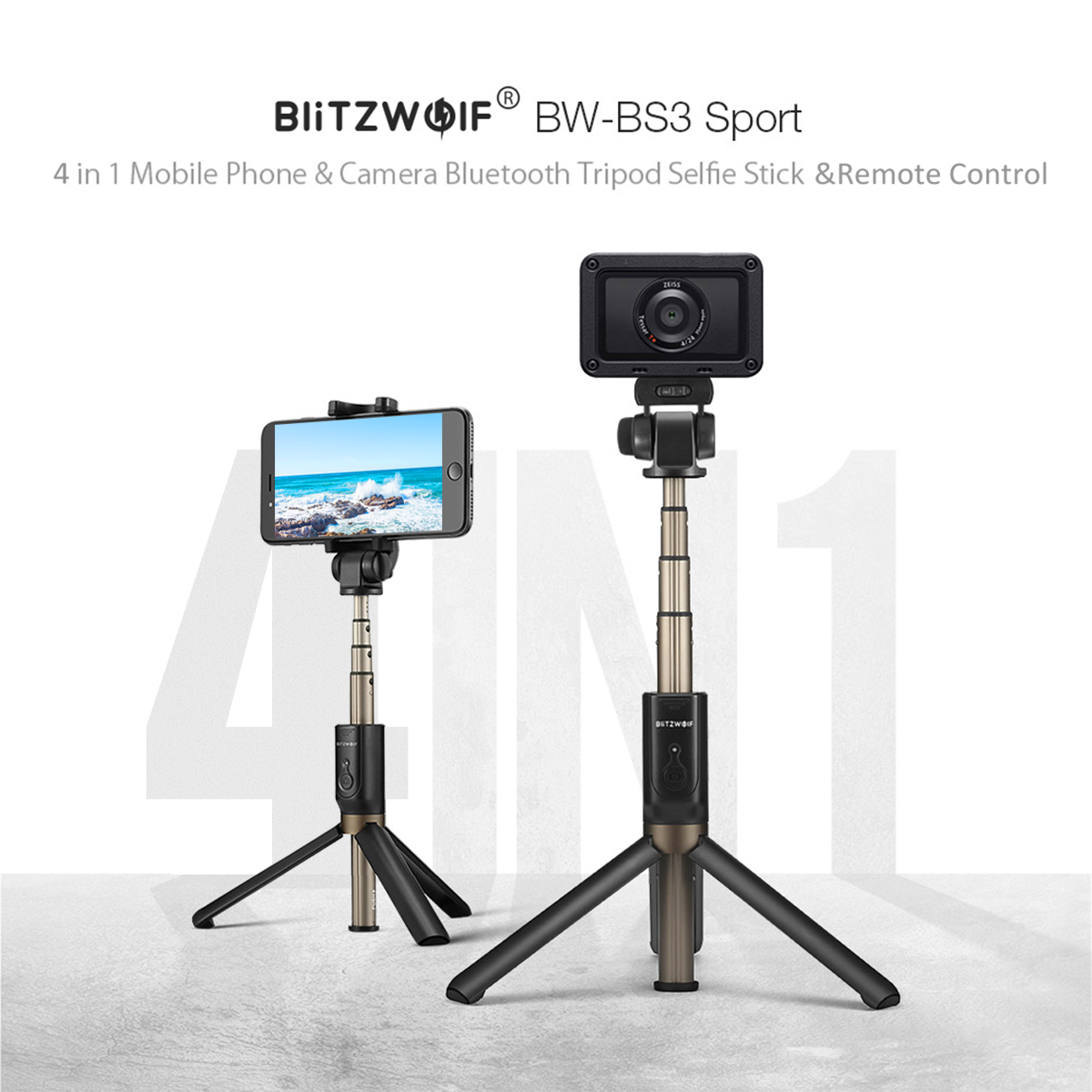 Blitzwolf 4in1 Bluetooth Tripod Selfie Stick Remote For