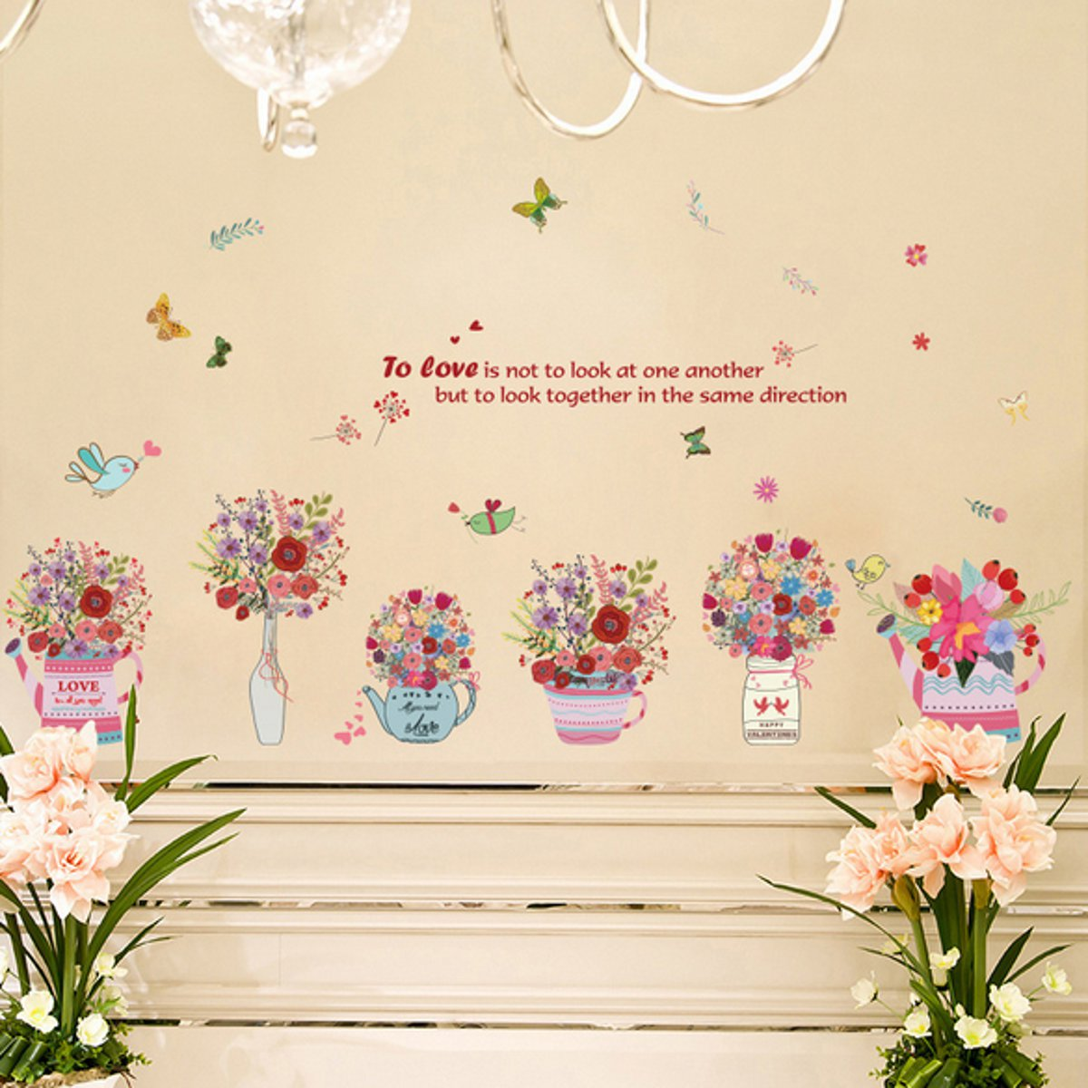 Details About Diy Flower Pvc Removable Decal Wall Sticker Vinyl Art Mural Home Bedroom Decor