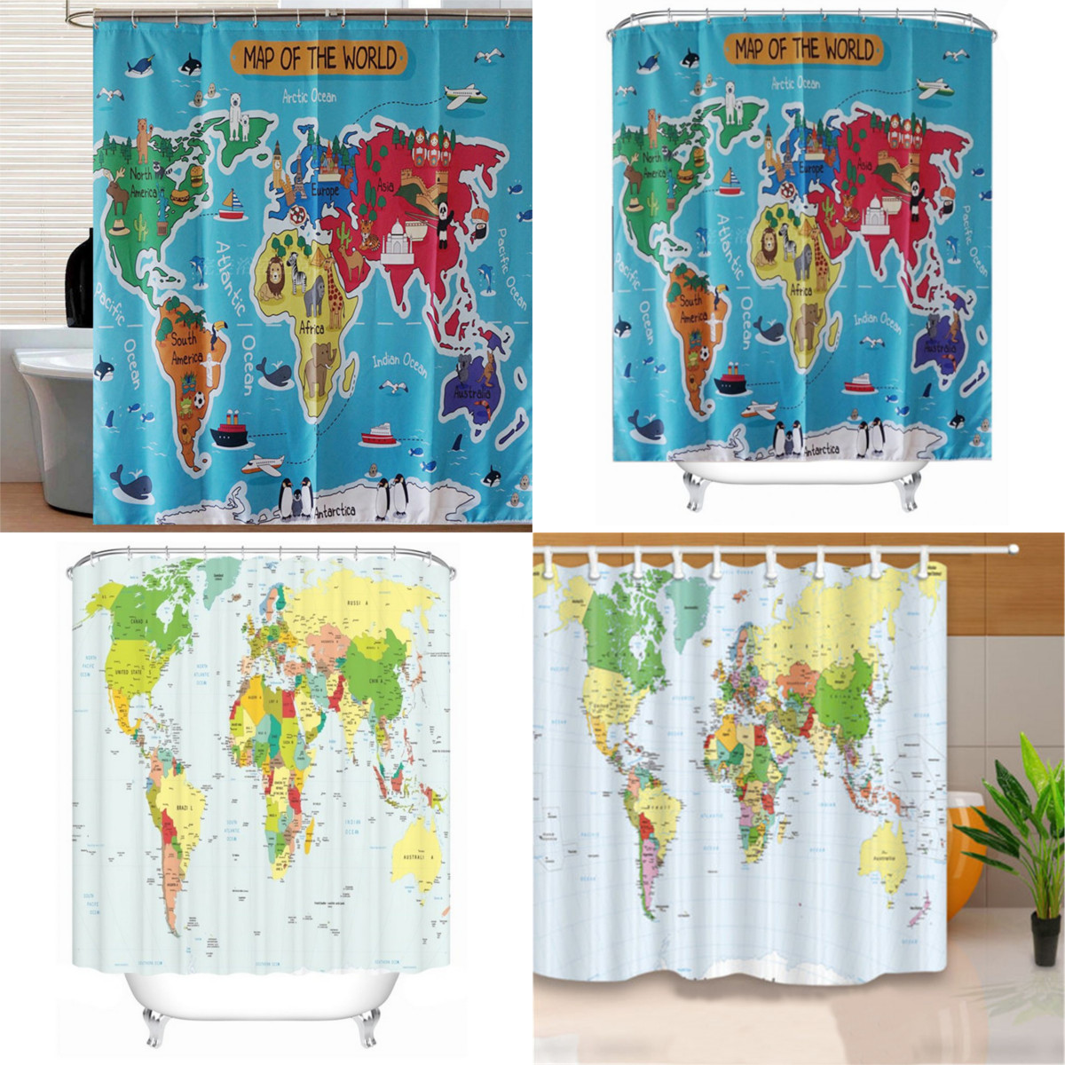 World map style polyester shower curtain panel sheer bathroom decor world map style polyester shower curtain panel sheer gumiabroncs Choice Image