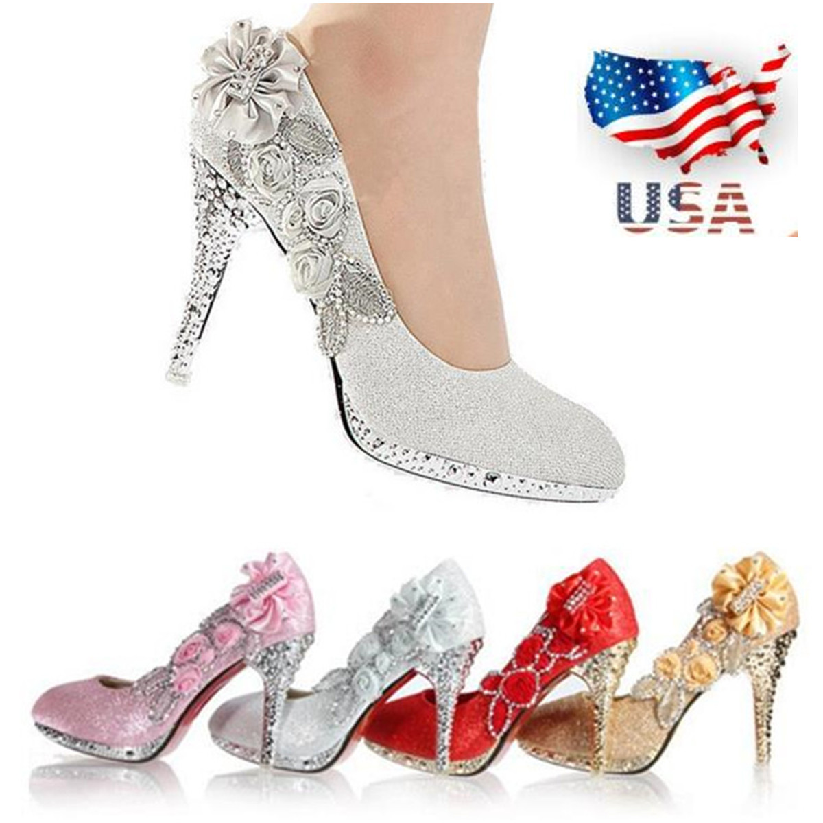 info for offer discounts affordable price Details about US 8CM Women Bridal Wedding High Heels Glitter Flower Shoes  Crystal Dance Party