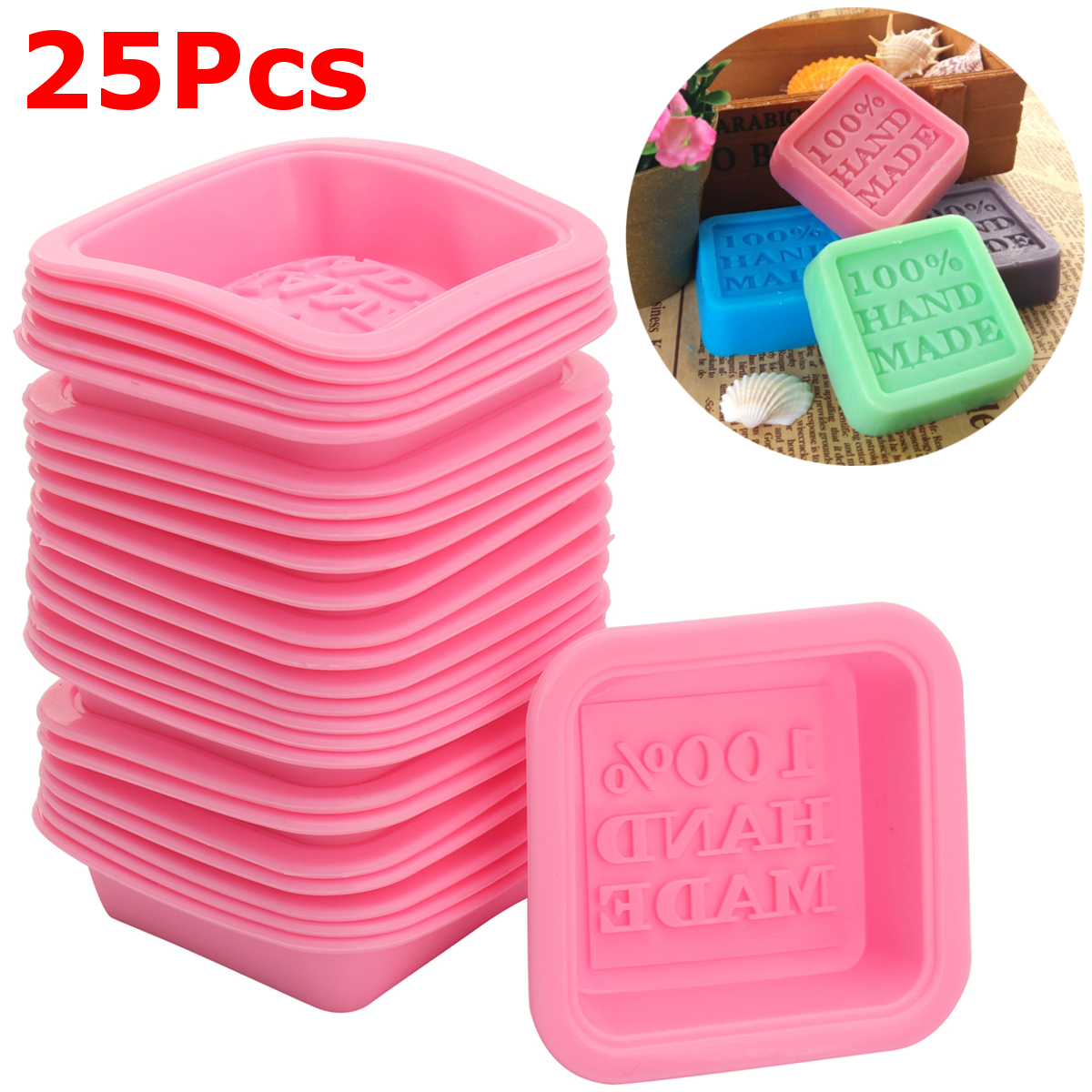 25Pcs Silicone Handmade Soap Mold for Soap Making Baking Mold Cupcake Liners New