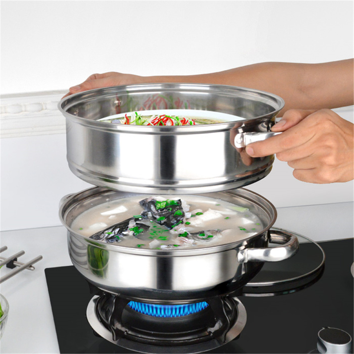 5-Tiers-Stainless-Steel-Steamer-Pot-Induction-Compatible-Cookware-Basket-Pan thumbnail 4