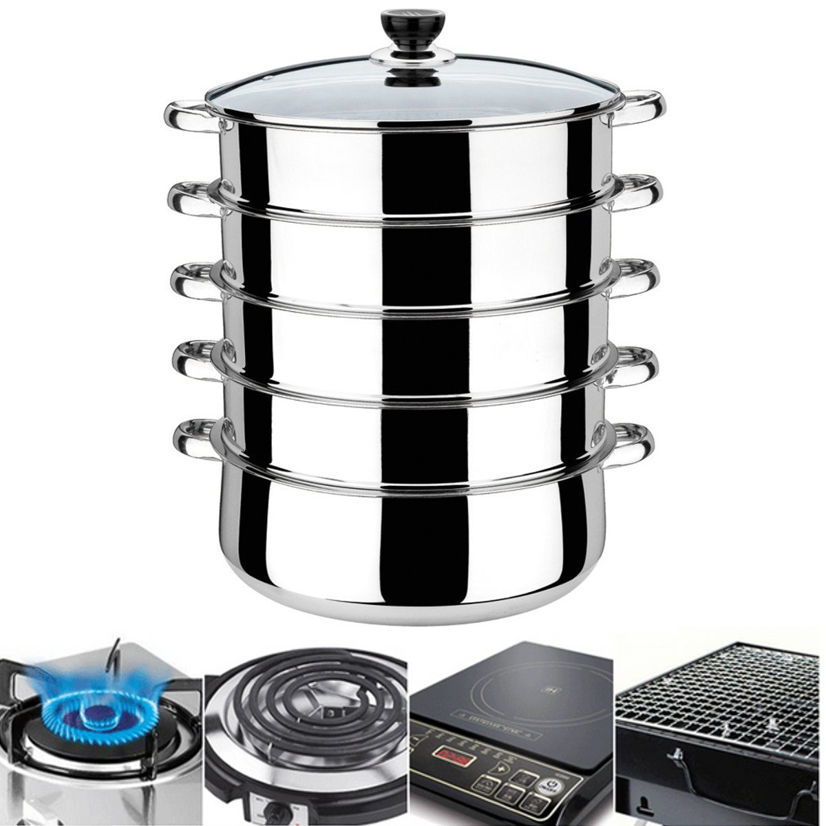 5-Tiers-Stainless-Steel-Steamer-Pot-Induction-Compatible-Cookware-Basket-Pan thumbnail 2