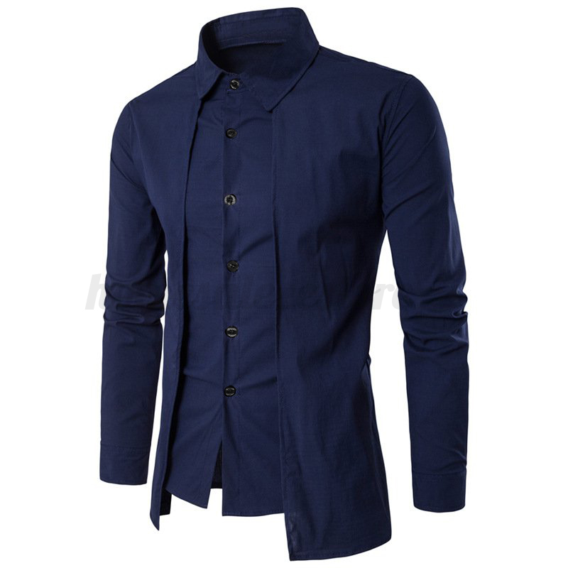 Fashion men casual shirt long sleeve button up formal for Made to measure casual shirts