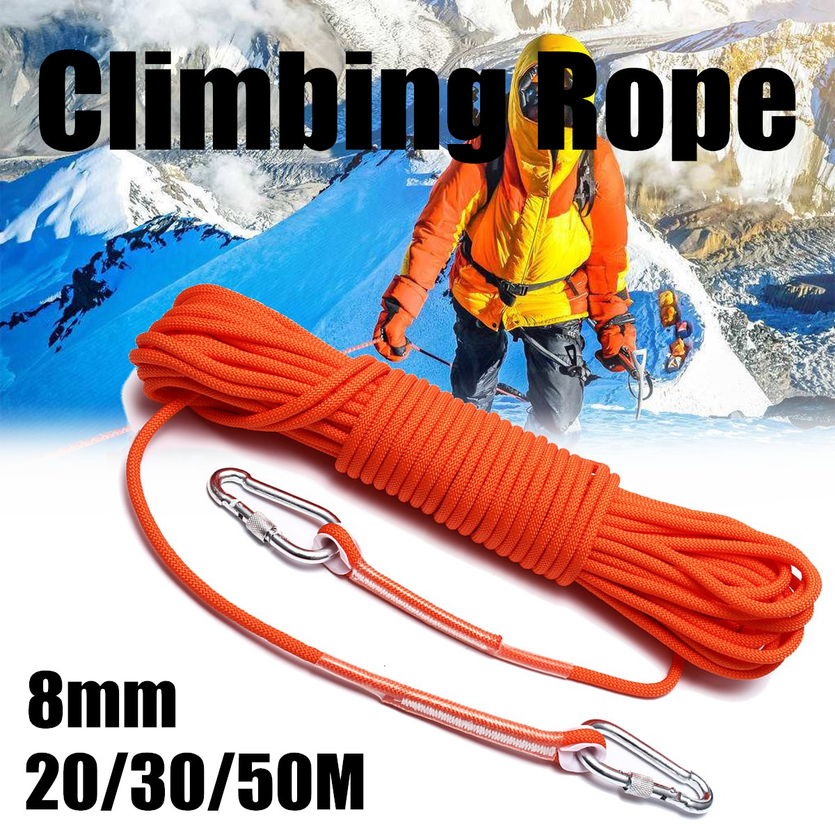 10M Safety Climbing Protect Rope Outdoor Rappel Caving Auxiliary Rope Survival