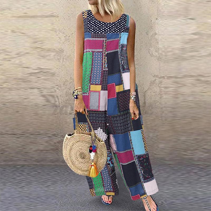 UK-Womens-Bohemia-Floral-Patchwork-Jumpsuits-Ladies-Wide-Leg-Playsuits-Plus-Size thumbnail 10