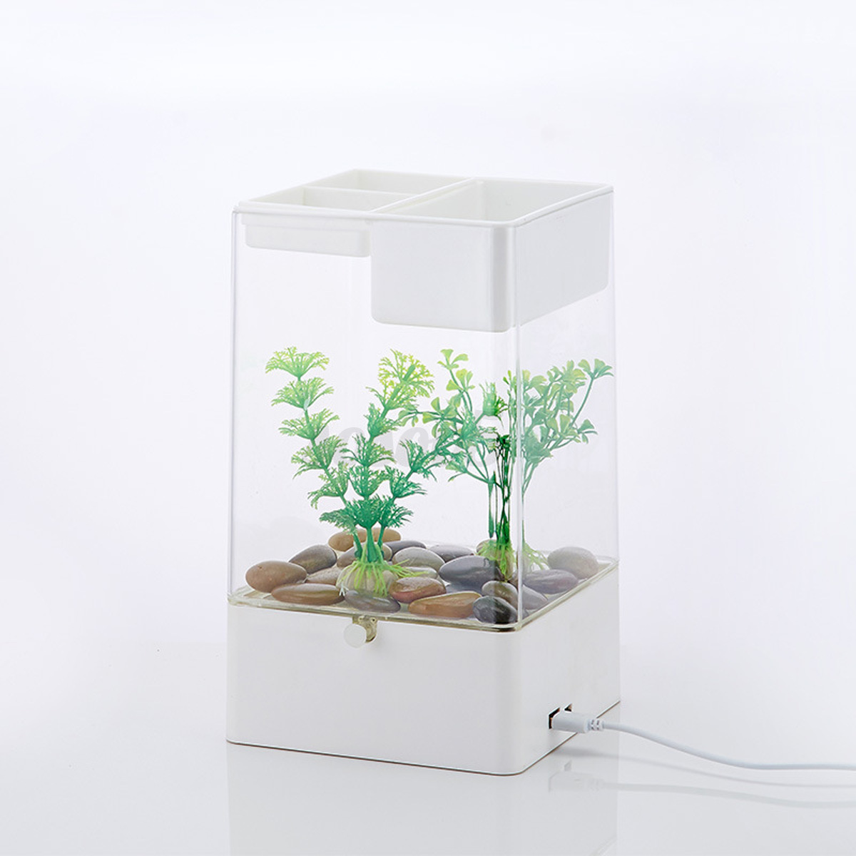 mini fish tank usb desktop lamp light colorful led aquarium black new square ebay. Black Bedroom Furniture Sets. Home Design Ideas