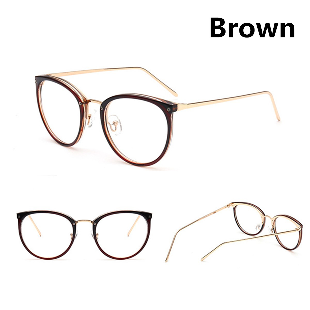 Mens Womens Clear Lens Round Eyeglass Frames PC+Metal Optical ...