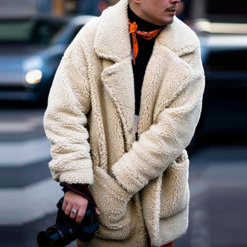 Details about Men Fluffy Coat Fleece Fur Jackets Teddy Bear Winter Warm Outerwear Hoodies Coat