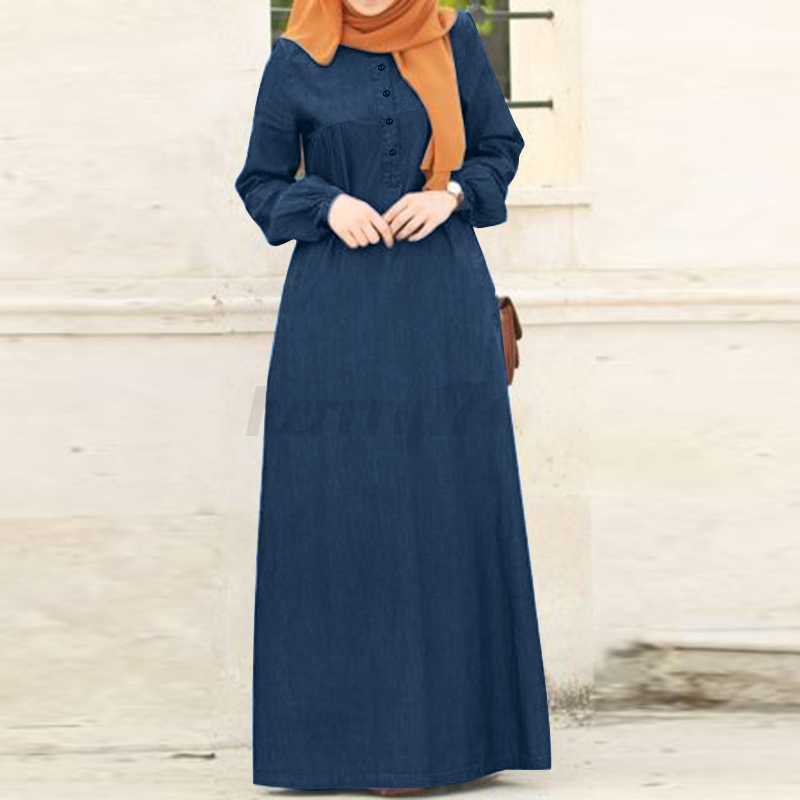 thumbnail 12 - ZANZEA-Women-Long-Sleeve-O-Neck-Casual-Loose-Kaftan-Baggy-Denim-Maxi-Shirt-Dress