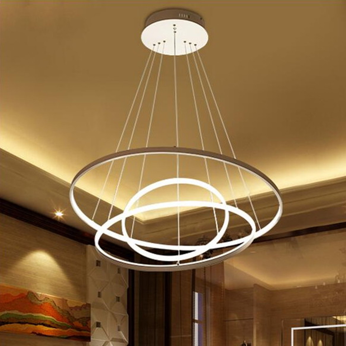 Details about modern circular ring pendant light acrylic aluminum led chandelier ceiling lamp