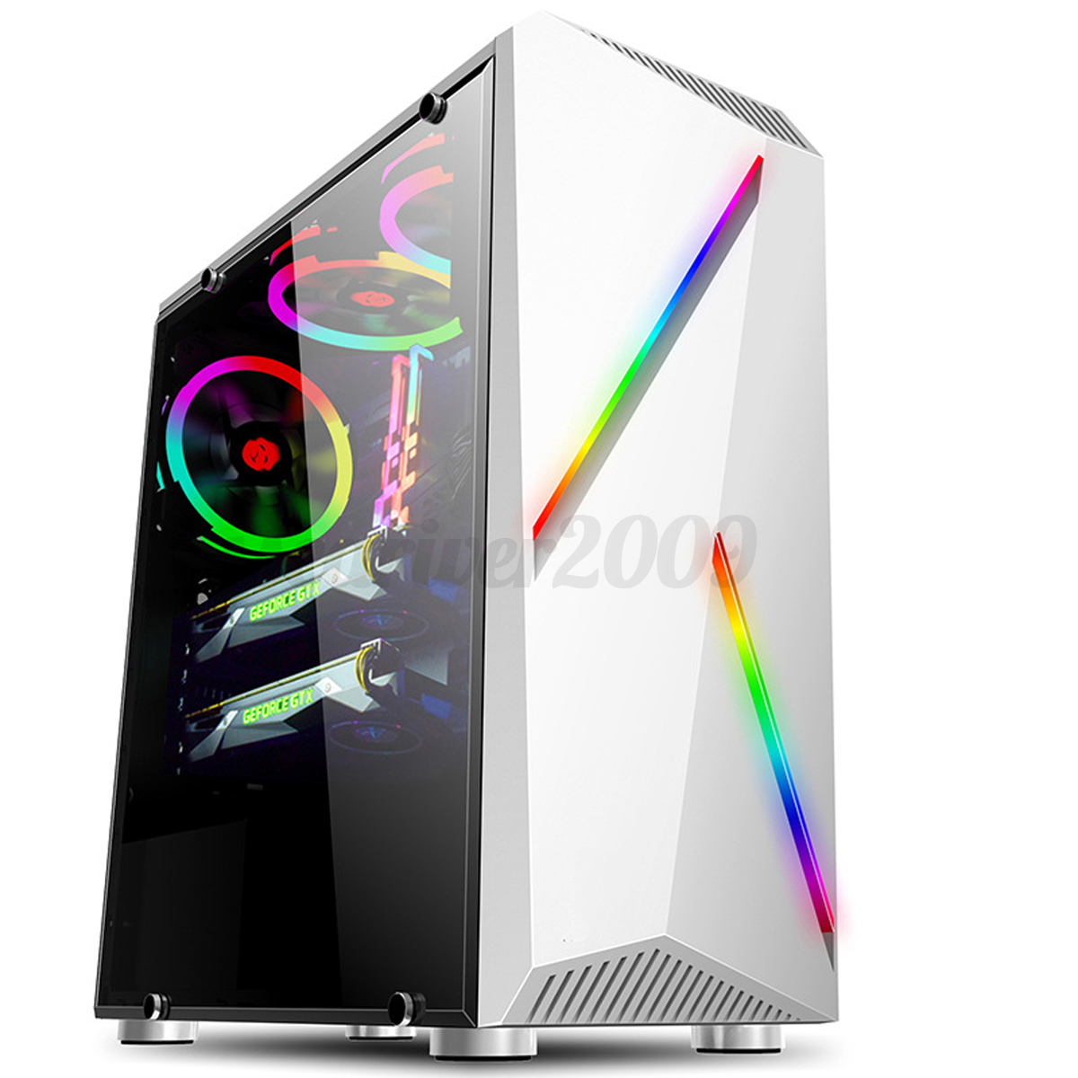 Rgb Computer Pc Case Gaming Tower Atx M Atx Itx Audio