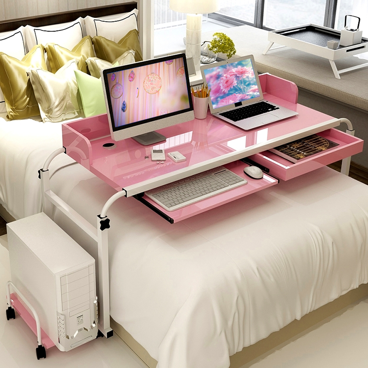 Mobile Over Bed Table Home Office Working Computer