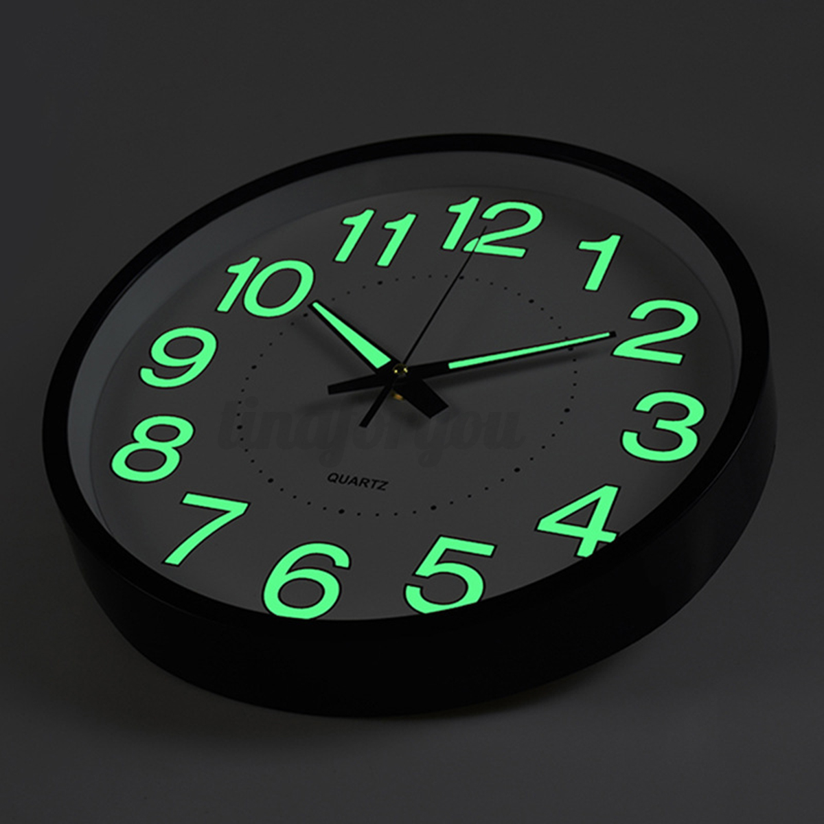 12 39 39 wall clock glow in the dark silent quartz indoor outdoor white noctilucent ebay. Black Bedroom Furniture Sets. Home Design Ideas