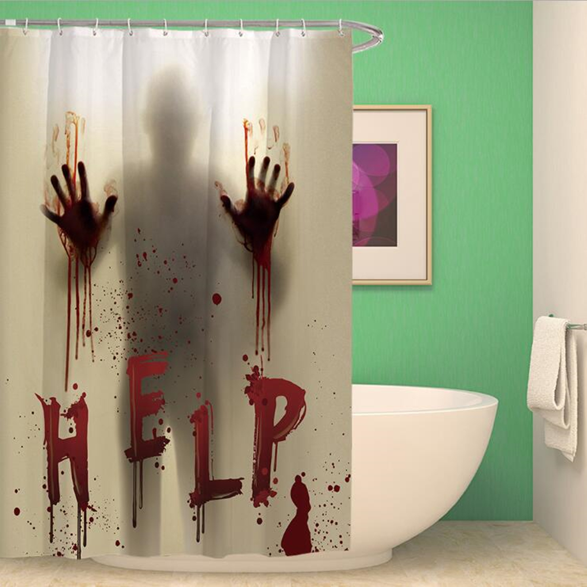 Halloween Horror Shower Curtain Waterproof Scary Bloody Hands