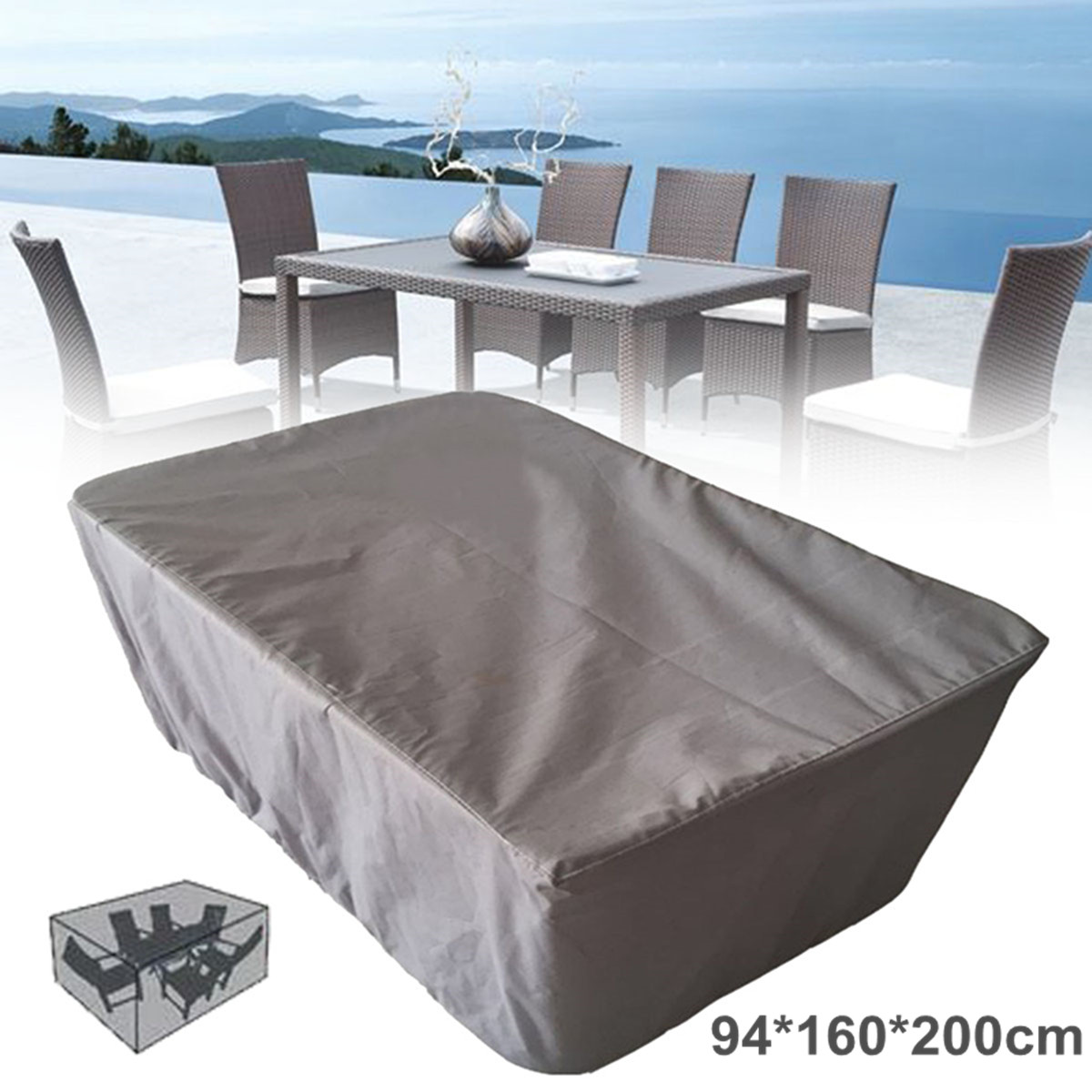 Details About Grey Garden Patio Table Cover Waterproof Outdoor Furniture Shelter Protection