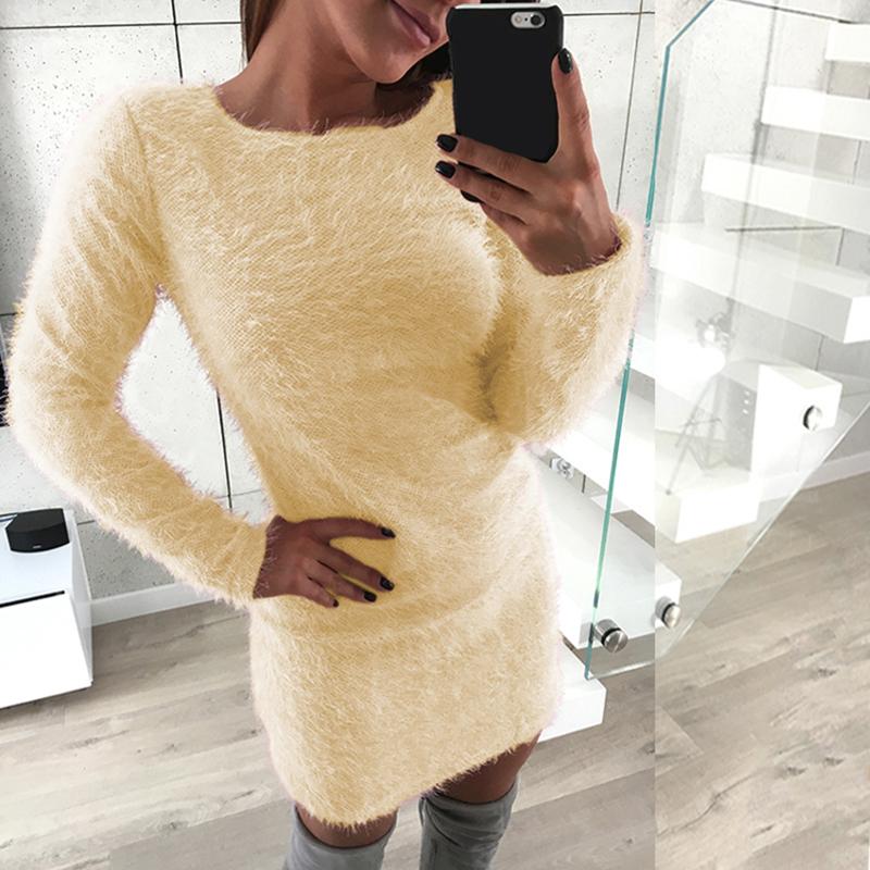 Plus-Size-Womens-Winter-Long-Sleeve-Faux-Fur-Sweater-Dress-Badycon-Romper-Jumper