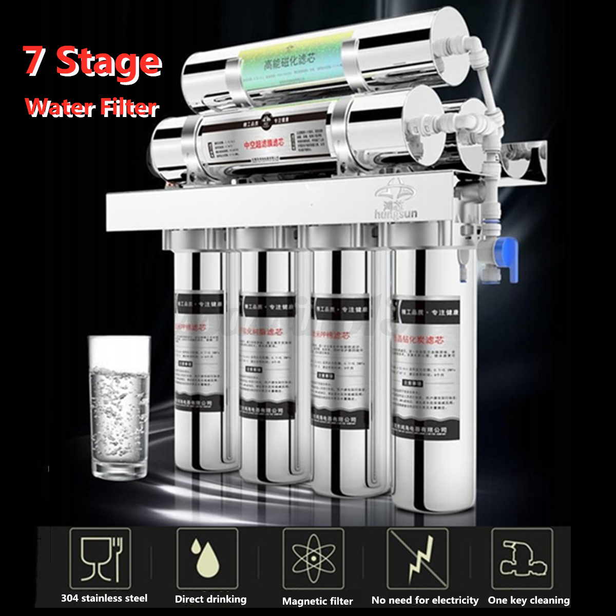 7 Stage Water Filter System With Faucet Valve Home Kitchen P