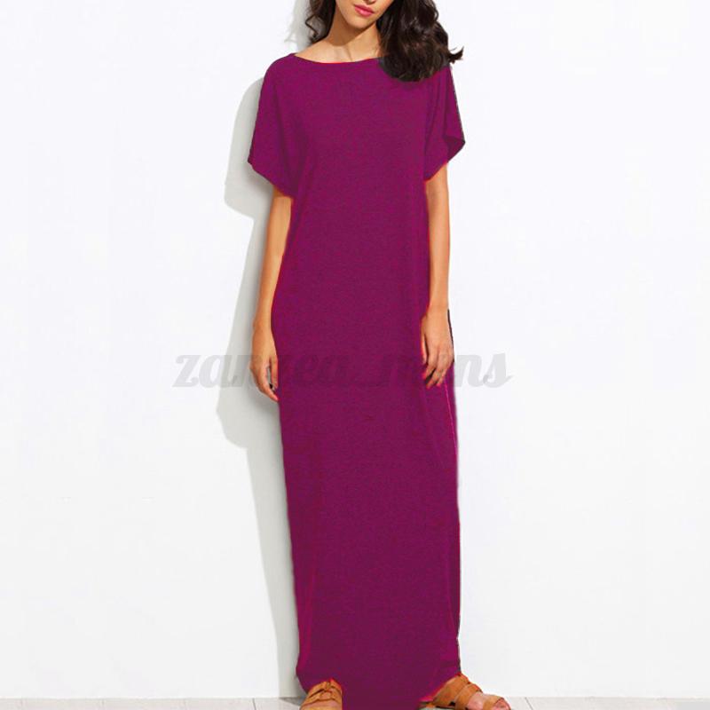US Stock Women Summer T-Shirt Long Maxi Dress Evening Party Full ...