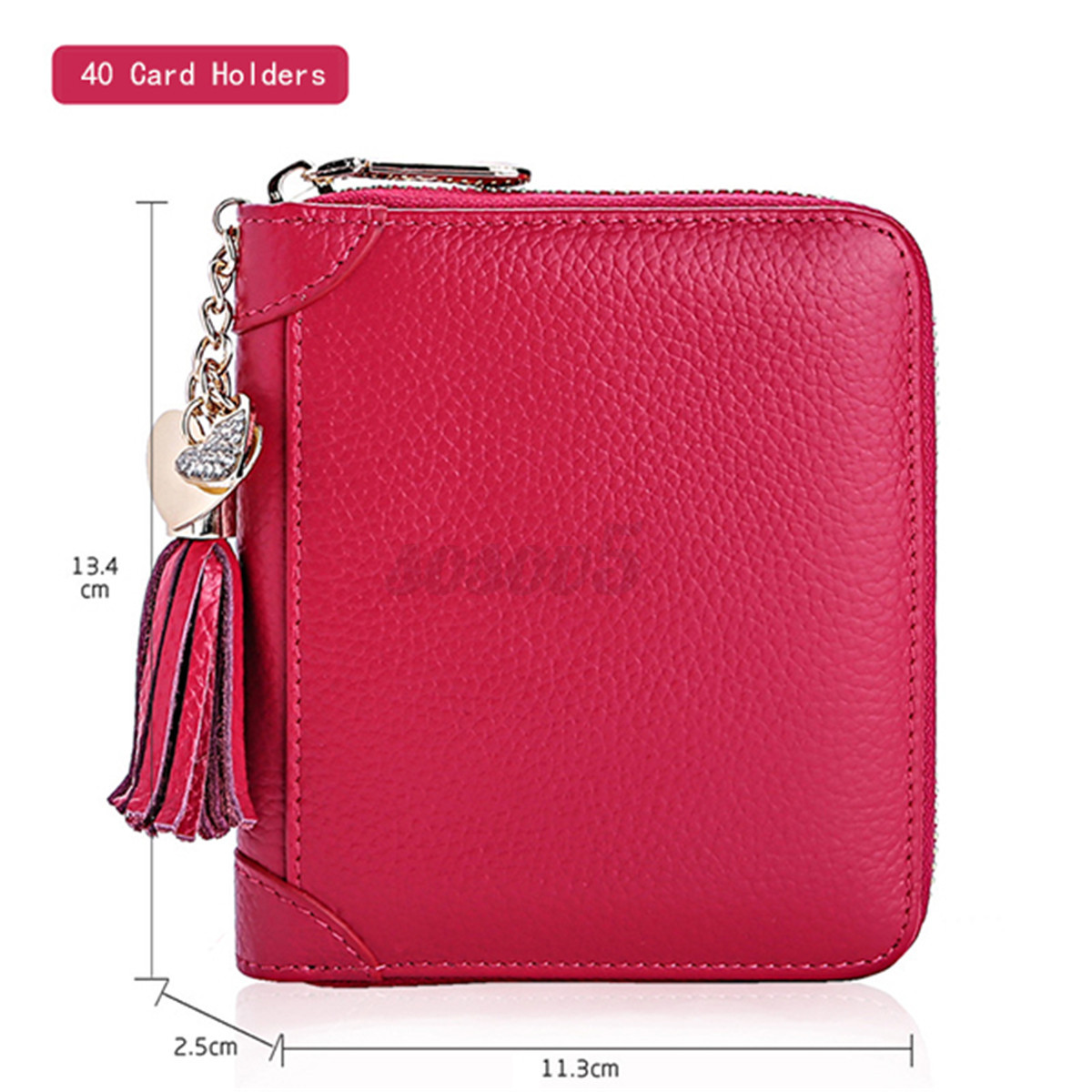 Genuine Leather Multi-slots Zipper Business Card Holder Purse 20/40 ...