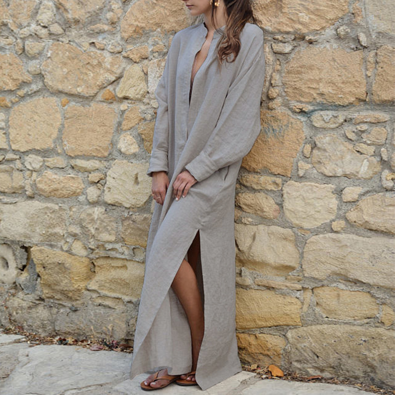 Women-Casual-Long-Sleeve-Maxi-Kaftan-Sundress-Oversized-Plunge-Deep-V-Neck-Dress