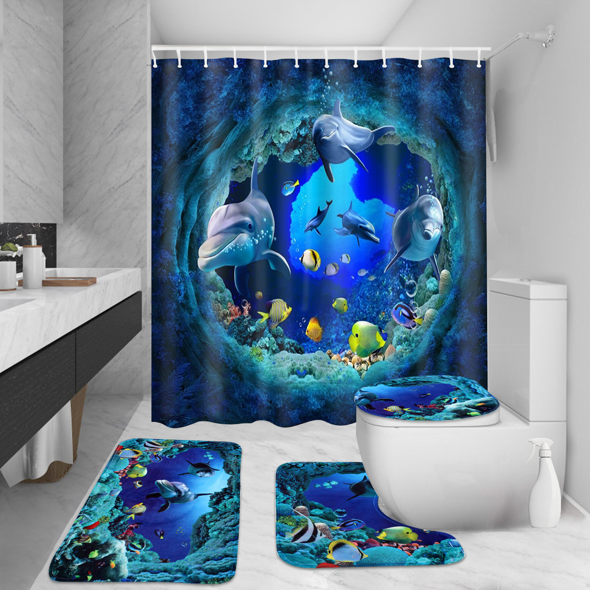 US Shark Deep Sea Shower Curtain Non-slip Bath Mat Pedestal