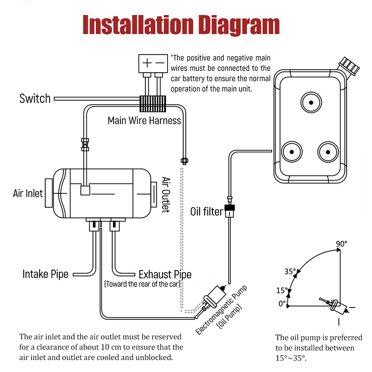 12v 5kw Diesel Air Heater Lcd Switch Remote 10l Tank F Trucks Car That Wiring Diagram Is Identical To What Viair Has On Their Website Detail Image