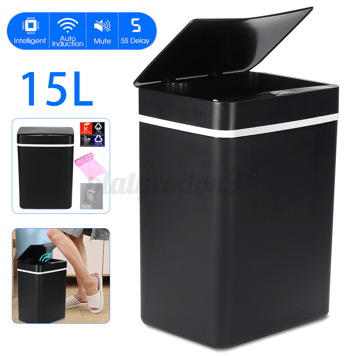 15l touch free trash can automatic infrared