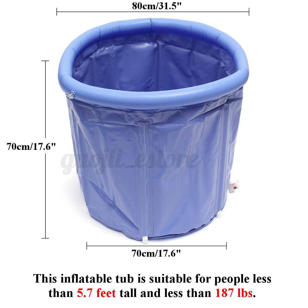 Folding Bathtub Portable Plastic Foldable Water Tub Place Room Spa ...